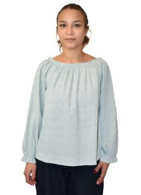 Blusa elastico - Camicia micro fantasia goffrata made in Italy