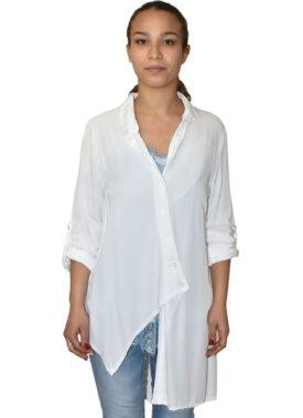 Camicia asimmetrica in viscosa bianca made in Italy