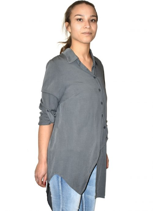 Camicia asimmetrica in viscosa grigia made in Italy