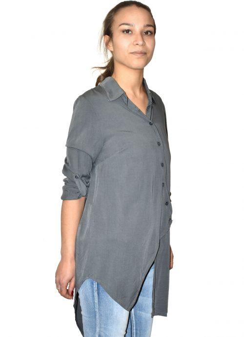 Camicia asimmetrica in viscosa grigia made in Italy