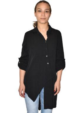 Camicia asimmetrica in viscosa nera made in Italy