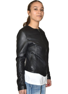 Woman leather jacket in Made in Italy