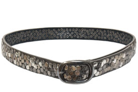 Cintura in pelle grigia per donna